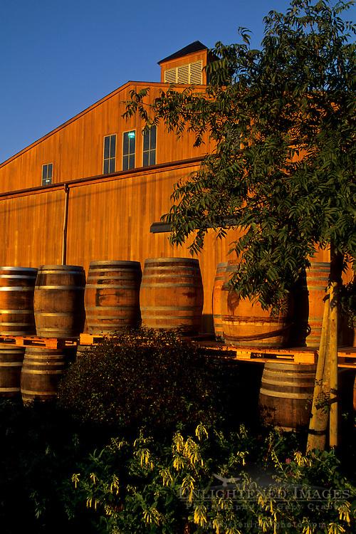 Wine barrels at sunrise, Bouchaine, Carneros Region, Napa Valley, Napa County, California