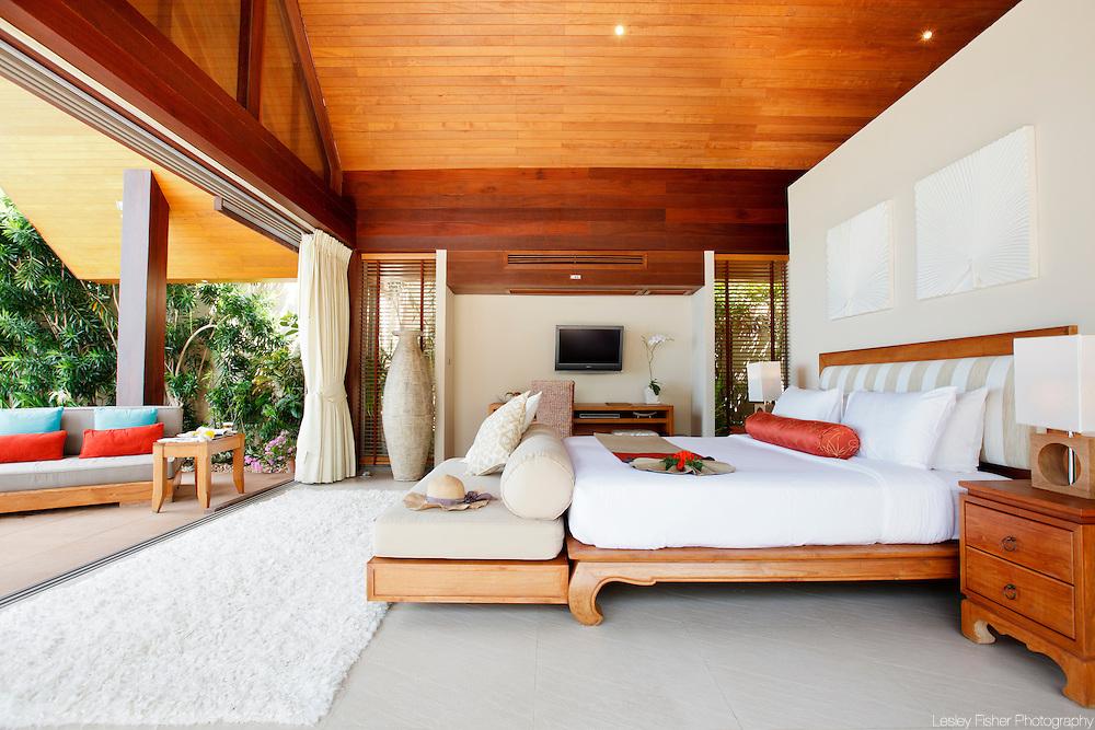 Beach and pool view bedroom at Baan Kilee, luxury, private villa located on Lipa Noi Beach, Koh Samui, Thailand