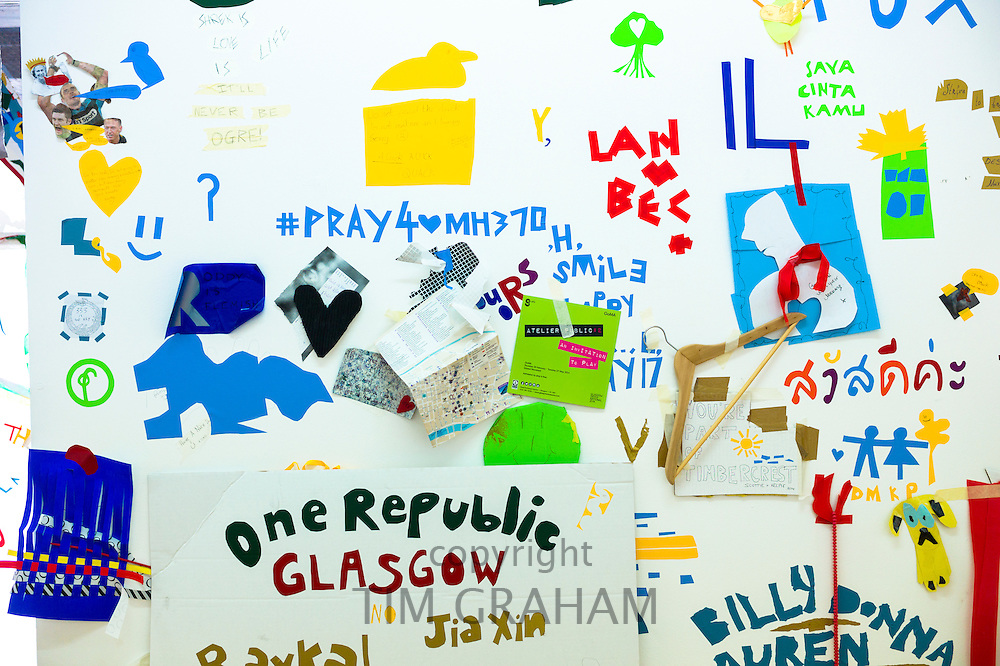 """One Republic Glasgow"" message for devolution debate exhibited at Atelier Public 2, exhibition of free expression artworks by members of the public, on display in Gallery of Modern Art, GoMA, Glasgow, Scotland"