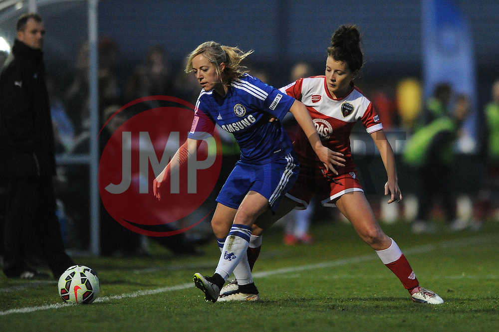 Bristol Academy Womens' Angharad James closes down Gemma Davison of Chelsea Ladies - Photo mandatory by-line: Dougie Allward/JMP - Mobile: 07966 386802 - 02/04/2015 - SPORT - Football - Bristol - SGS Wise Campus - BAWFC v Chelsea Ladies - Womens Super League