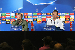 February 12, 2018 - Turin, Piedmont, Italy - Massimiliano Allegri, head coach of Juventus FC and Giorgio Chiellini (Juventus FC) during the Juventus FC press conference on the eve of the first leg of the Round 16 of the UEFA Champions League 2017/18 between Juventus FC and Tottenham Hotspur FC at Allianz Stadium on 12 February, 2018 in Turin, Italy. (Credit Image: © Massimiliano Ferraro/NurPhoto via ZUMA Press)