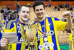 Miha Zarabec and David Razgor celebrate as National Champions 2017 during trophy ceremony after handball match between RK Celje Pivovarna Lasko and RK Gorenje Velenje in Last Round of 1. Liga NLB 2016/17, on June 2, 2017 in Arena Zlatorog, Celje, Slovenia. Photo by Vid Ponikvar / Sportida