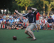 Student Ryan Richards performs his version of a touchdown dance at an Ole Miss pep rally in the Grove in Oxford, Miss. on Thursday, September 1, 2011.