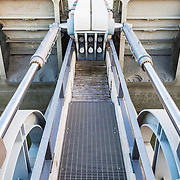2 of 16 cylinders at the sluice-gate hydraulic dam on the Couesnon river. The dam is responsible for de-silting the bay of Mont Saint-Michel. It is one of the most extraordinary ecological projects in existence, aimed at preserving the maritime character of this exceptional UNESCO site.