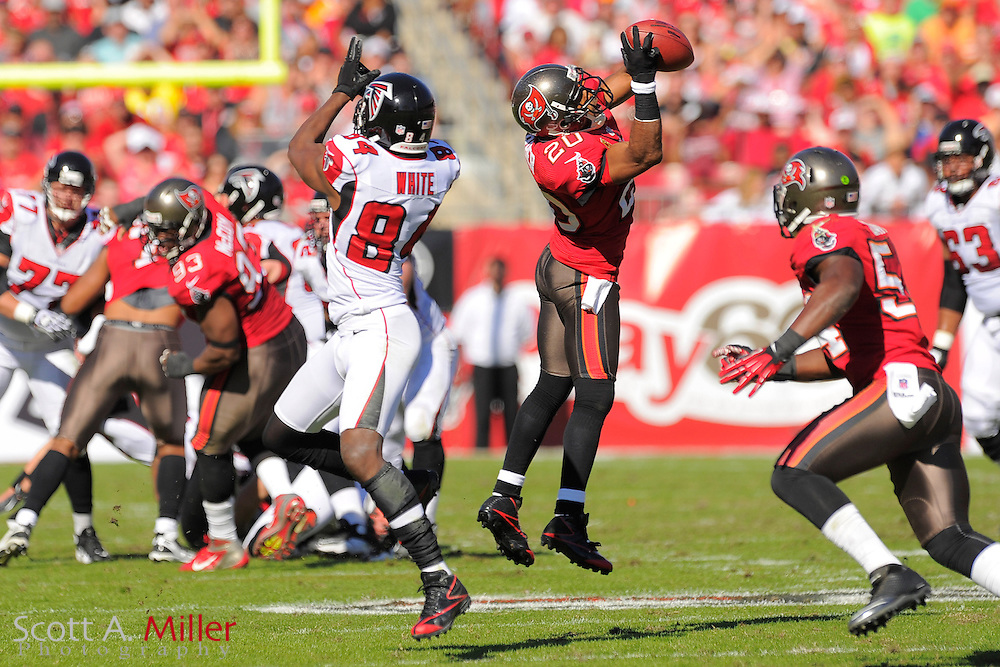 Tampa Bay Buccaneers free safety Ronde Barber (20) intercepts the ball during the Bucs game against the Atlanta Falcons at Raymond James on November 25, 2012 in Tampa, Florida. ...©2012 Scott A. Miller..