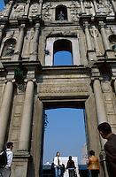Tourists at the Ruinas de Sao Paulo, Macau, China.