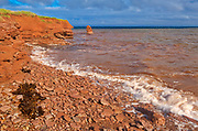 Red sandstone cliffs along the Gulf of St. Lawrence. SIte of the remnant of 'Elephant Rock'.<br />