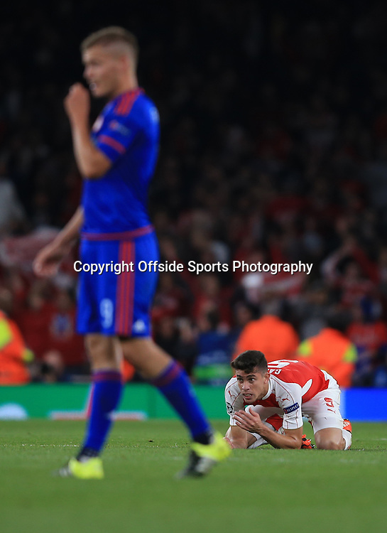 29 September 2015 - UEFA Champions  League (Group F) - Arsenal v Olympiakos - Gabriel Paulista of Arsenal reacts as the full time whistle blows - Photo: Marc Atkins / Offside.