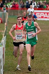 Sven Weyer of Germany and Mark Hanrahan of Ireland during the Senior Men's race during the 18th SPAR European Cross Country Championships Velenje 2011, on December 11, 2011 in Stadium Ob jezeru, Velenje, Slovenia. (Photo By Matic Klansek Velej / Sportida.com)