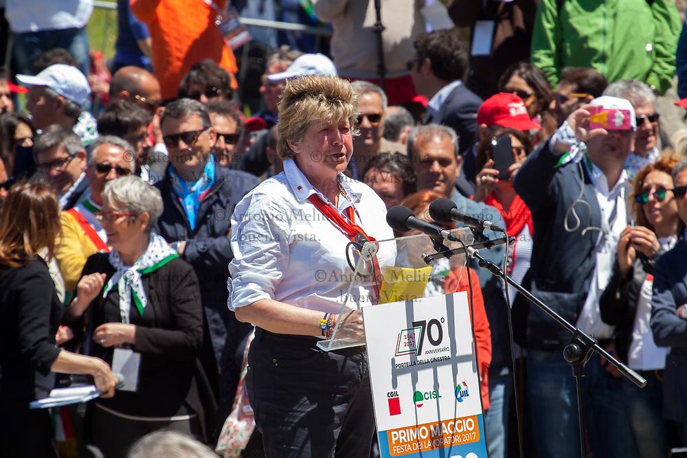 Susanna Camusso, segretario nazionale CGIL, interviene a Portella della Ginestra durante il 70° anniversario della strage.