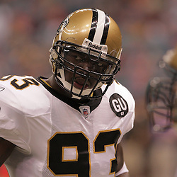 2008 September 7: New Orleans Saints defensive end Bobby McCray (93) during pregame drills before the start of the Saints game against the Tampa Bay Buccaneers at the Louisiana Superdome in New Orleans, LA.  The New Orleans Saints (1-0) defeated the Tampa Bay Buccaneers (0-1) 24-20.