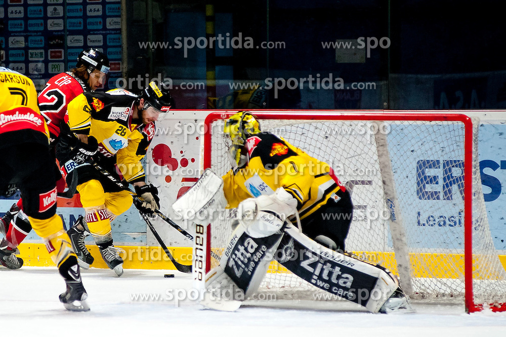 18.01.2015, Ice Rink, Znojmo, CZE, EBEL, HC Orli Znojmo vs UPC Vienna Capitals, 40. Runde, im Bild v.l. Bret Carson (UPC Vienna Capitals) Radek Cip (HC Orli Znojmo) Andreas Nodl (UPC Vienna Capitals) Matthew Zaba (UPC Vienna Capitals) // during the Erste Bank Icehockey League 40th round match between HC Orli Znojmo and UPC Vienna Capitals at the Ice Rink in Znojmo, Czech Republic on 2015/01/18. EXPA Pictures © 2015, PhotoCredit: EXPA/ Rostislav Pfeffer
