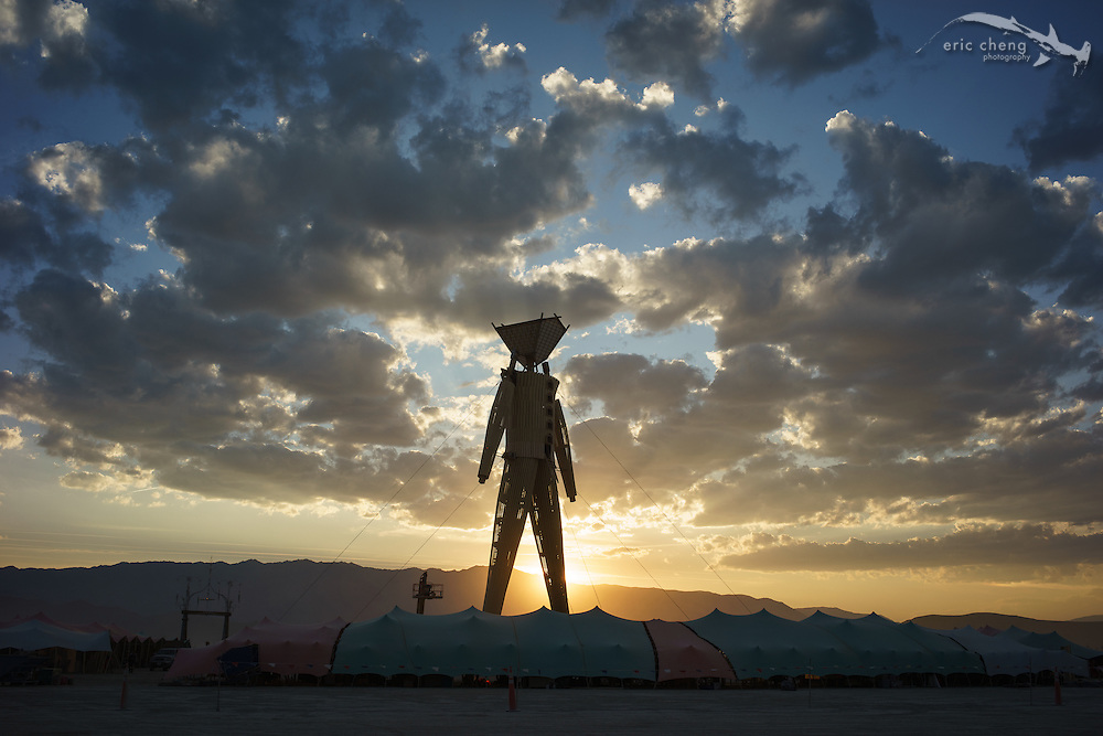 The Man at sunset. Burning Man 2014