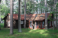 Gordon MacQuarrie's cabin on Middle Eau Claire Lake in Bayfield County, Wisconsin, U.S. Contemporary view.