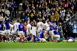 November 11, 2018 - St Denis, France, France - joie des joueurs Sud Africains apres l essai final et Deception des joueurs Francais (Credit Image: © Panoramic via ZUMA Press)