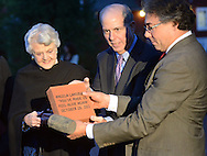 NEW HOPE, PA -  OCTOBER 28: Actress Angela Lansbury is presented with a commemorative brick to be installed in the walkway by Jed Bernstein, Producing Director of the Bucks County Playhouse and Hugh Marshall October 28, 2013 at the Bucks County Playhouse in New Hope, Pennsylvania.  Lansbury,  five-time Tony Award winning actress is the first inductee of the Bucks County Playhouse's Hall of Fame.(Photo by William Thomas Cain/Cain Images)