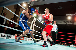 Igor Nistor of Serbia (BLUE) fights against Denis Lazar of Slovenia (RED) in Elite 81 kg Category during Dejan Zavec Boxing Gala event in Laško, on April 21, 2017 in Thermana Lasko, Slovenia. Photo by Vid Ponikvar / Sportida