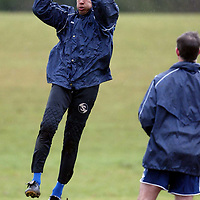 St Johnstone Training..26.02.02   <br />New St Johnstone signing Ludovic Roy taking part in his first training session since joining from St Mirren, he is pictured with keeping cocah Bobby Geddes<br /><br />see story by Gordon Bannerman Tel:01738 553978<br /><br />Picture by Graeme Hart.<br />Copyright Perthshire Picture Agency<br />Tel: 01738 623350  Mobile: 07990 594431