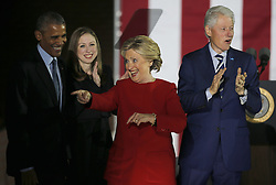 November 7, 2016 - Philadelphia, PA, U.S - Democratic presidential candidate Hillary Clinton stands with President Barack Obama (L), daughter Chelsea Clinton and husband, former president Bill Clinton (R) during a campaign event on Independence Mall in Philadelphia, November 7, 2016. (Credit Image: © Gary Hershorn via ZUMA Wire)