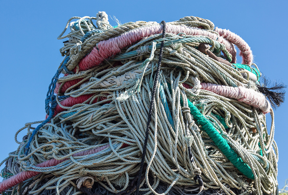 Pile of rope found on a fishing dock