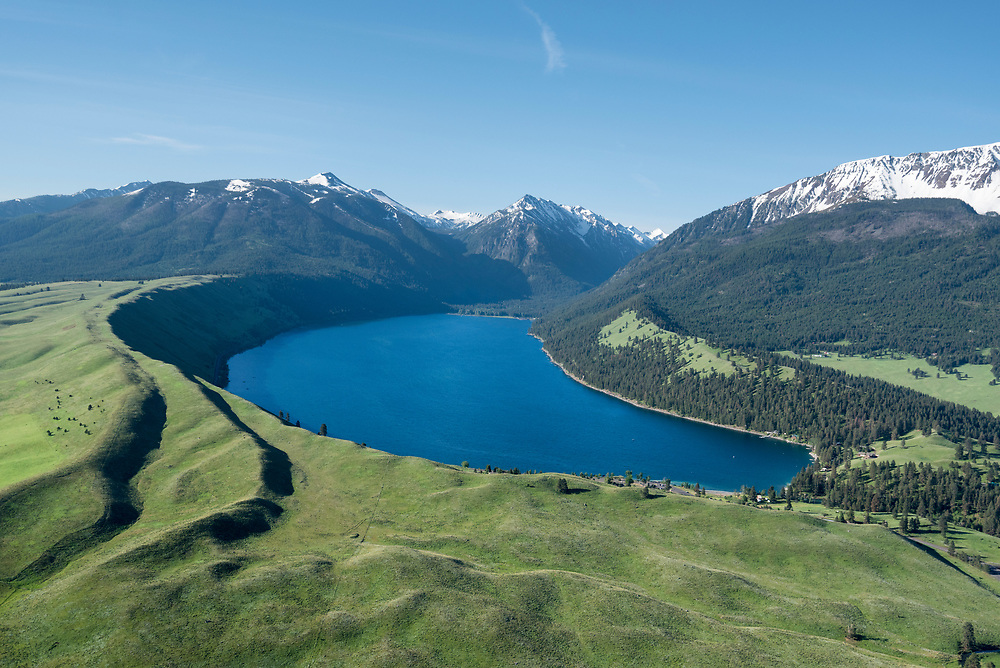 Aerial view of Wallowa Lake and the Wallowa Mountains in Northeast Oregon.