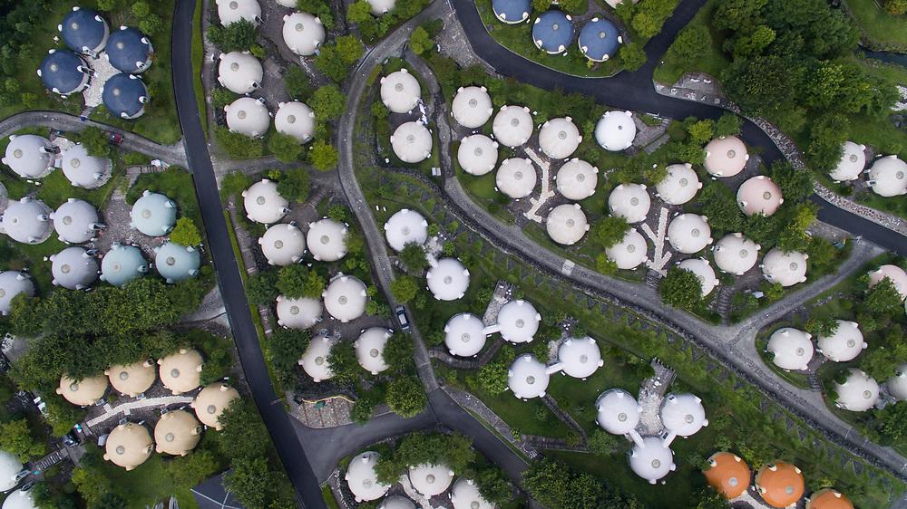 KUMAMOTO, JAPAN - JULY 31: Aerial view of Quake-proof dome houses in Aso Farm Land, Kumamoto prefecture, Japan, July 31, 2017. (Photo: Richard Atrero de Guzman/NUR Photo)