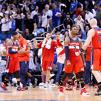 28 October 2015: Washington Wizards guard John Wall (2) celebrates with Washington Wizards center Marcin Gortat (13) during the Washington Wizards 88-87 victory over the Orlando Magic, at the Amway Center, in Orlando, Florida, USA.