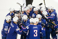Anthony Rech of France, Olivier Dame-Malka of France (C) and other players of France celebrate after winning during the 2017 IIHF Men's World Championship group B Ice hockey match between National Teams of France and Belarus, on May 12, 2017 in AccorHotels Arena in Paris, France. Photo by Vid Ponikvar / Sportida
