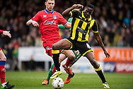 Lucas Akins of Burton Albion controls the ball during the Sky Bet League 1 match between Burton Albion and Oldham Athletic at the Pirelli Stadium, Burton upon Trent, England on 26 March 2016. Photo by Brandon Griffiths.
