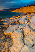 Salt deposits on the shore of the Dead Sea, Jordan.