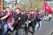 The Paras during the demonstration in support of Soldier F by former service personnel in Central Manchester on 19 April 2019.