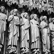 Sculptures on Notre-Dame in Paris, France