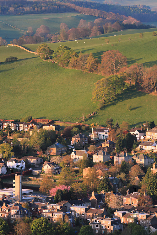 The central border town of Galashiels on an early spring morning looking across to 'Gala' Hill