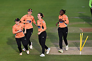 Fi Morris, Tammy Beaumont, Stafanie Taylor and Thea Brookes of Southern Vipers celebrate the wicket of Sune Luus during the Women's Cricket Super League match between Southern Vipers and Lancashire Thunder at the 1st Central County Ground, Hove, United Kingdom on 15 August 2019.