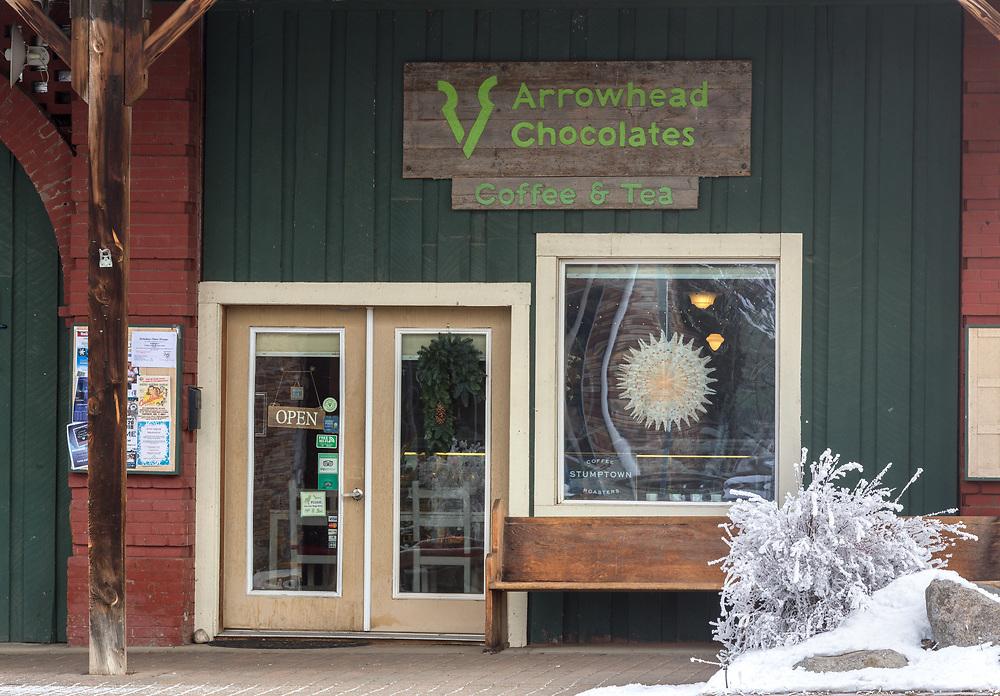 Arrowhead Chocolate shop on a winter day in Joseph, Oregon.