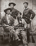 "William F. ""Buffalo Bill"" Cody (seated left) with Grand Duke Alexis (seated right) with unknown soldiers standing, 1872"