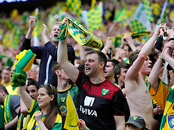 Norwich City fans celebrates as they win promotion to the premier league  - Photo mandatory by-line: Joe Meredith/JMP - Mobile: 07966 386802 - 25/05/2015 - SPORT - Football - London - Wembley Stadium - Middlesbrough v Norwich - Sky Bet Championship - Play-Off Final