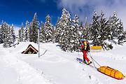 Backcountry skier heading into the Ansel Adams Wilderness, Sierra Nevada Mountains, California USA