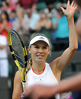 Tennis - 2019 Wimbledon Championships - Week One, Wednesday (Day Three)<br /> <br /> Women's singles, 2nd Round: Caroline Wozniacki (DEN) v Veronika Kudermetova (RUS)<br /> <br /> Caroline waves to the crowd after the match  on Court 1<br /> <br /> COLORSPORT/ANDREW COWIE
