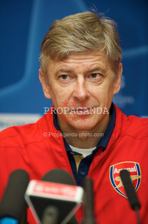 LIVERPOOL, ENGLAND - Monday, April 7,2008: Arsenal's manager Arsene Wenger during a press conference at Anfield ahead of the UEFA Champions League Quarter-Final 2nd Leg against Liverpool. (Pic by David Rawcliffe/Propaganda)
