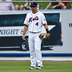 March 6, 2011; Port St. Lucie, FL, USA; New York Mets second baseman Russ Adams (4) during a spring training exhibition game against the Boston Red Sox at Digital Domain Park. The Mets defeated the Red Sox 6-5.  Mandatory Credit: Derick E. Hingle