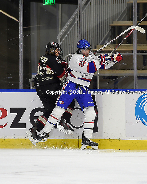 BUFFALO, ON - Sep 23, 2015 : Ontario Junior Hockey League game action between Toronto and Newmarket at the Showcase, Christian Cella #15 of the Newmarket Hurricanes takes the hit from Sal Filice #23 of the Toronto Jr Canadiens during the first period.<br /> (Photo by Andy Corneau / OJHL Images)
