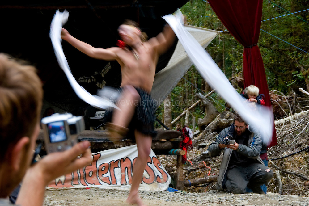 "This gentleman, dancing to Metallica, won the Miss Florentine prize - a talent and ""beauty"" contest as part of a weekend of fun at the Upper Florentine  protest camp in Tasmania. The stage is blocking  the forest access road made by contractors for Forestry Tasmania, in order to stop the logging of old growth forest in what is potentially a World Heritage Area."