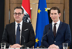 06.12.2017, Palais Epstein, Wien, AUT, Koalitionsverhandlungen von ÖVP und FPÖ anlässlich der Nationalratswahl 2017, im Bild FPÖ-Chef Heinz-Christian Strache und ÖVP-Chef Sebastian Kurz // Head of the Austrian Freedom Party (FPOe) Heinz-Christian Strache and Head of the Austrian Peoples Party (OeVP) Sebastian Kurz during coalition negotiations between the Austrian Peoples Party and Austrian Freedom Party due to general elections 2017 in Vienna, Austria on 2017/12/06, EXPA Pictures © 2017, PhotoCredit: EXPA/ Michael Gruber