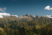View of Mount Vallier and surrounding massif from the Pic de la Calabasse near Saint-Lary, Ariege, Pyrenees, France.