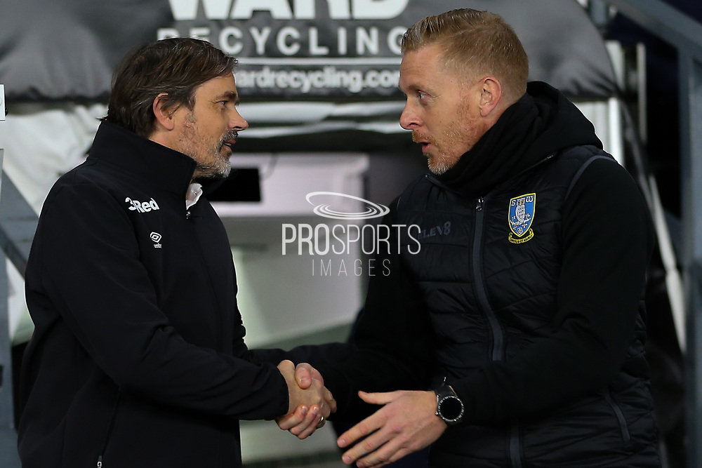 Derby County Manager Phillip Cocu & Sheffield Wednesday Manager Garry Monk  during the EFL Sky Bet Championship match between Derby County and Sheffield Wednesday at the Pride Park, Derby, England on 11 December 2019.