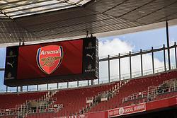 LONDON, ENGLAND - Sunday, April 2, 2017: A giant scoreboard television screen at Arsenal's Emirates Stadium, pictured before the FA Premier League match against Manchester City at the Emirates Stadium. (Pic by David Rawcliffe/Propaganda)
