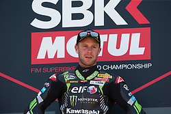 July 7, 2018 - Misano, RN, Italy - Jonathan Rea of Kawasaki Racing Team celebrate the victory of race 1 of the Motul FIM Superbike Championship, Riviera di Rimini Round, at Misano World Circuit ''Marco Simoncelli'', on July 07, 2018 in Misano, Italy  (Credit Image: © Danilo Di Giovanni/NurPhoto via ZUMA Press)
