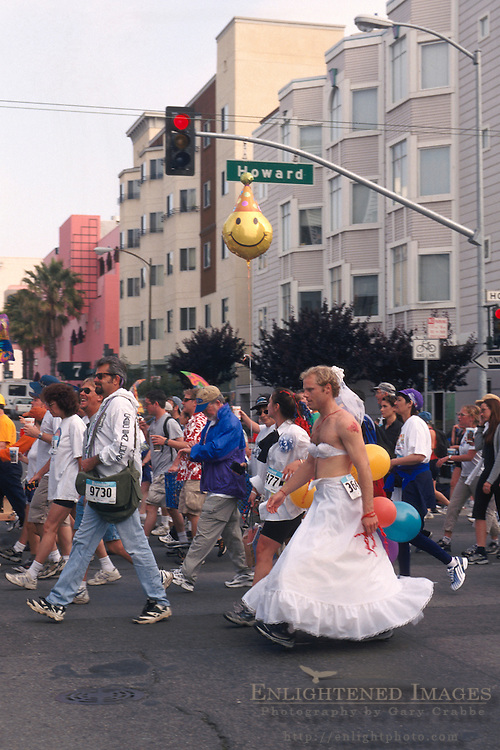 Crowds of people participate in the annual Bay to Breakers race through San Francisco, California - FOR NON-COMMERCIAL USE ONLY