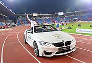 Kim Collins (SKN) arrives at the 57th Ostrava Golden Spike track and field meeting in a IAAF World Challenge event at Mestsky Stadium in Ostrava, Czech Republic, Wednesday, June 13, 2018. (Jiro Mochizuki/Image of Sport)